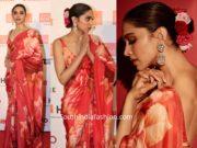 deepika padukone in red floral sabyasachi saree at lokmat most stylish awards 2019 (2)
