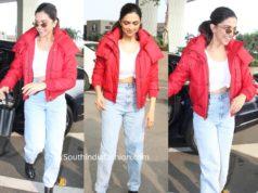 deepika padukone red puffer jacket airport