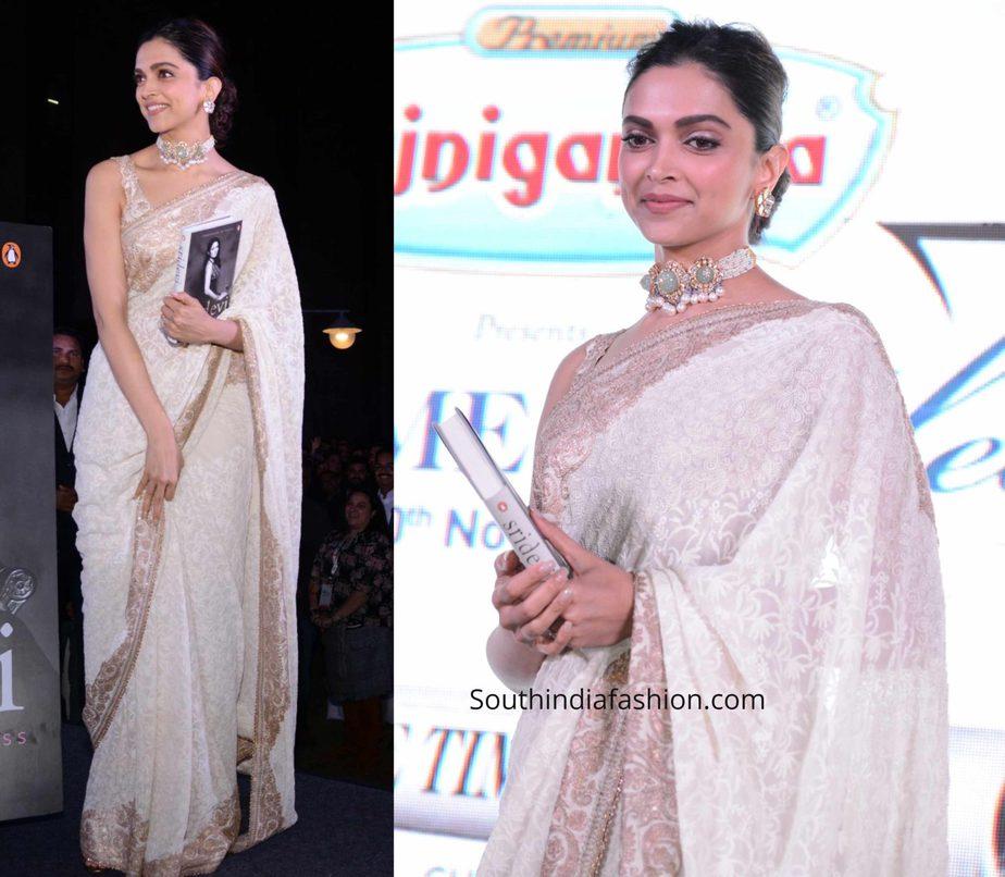 deepika padukone white saree at sridevi book launch (2)