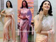 divyanka tripathi pink saree high neck blouse