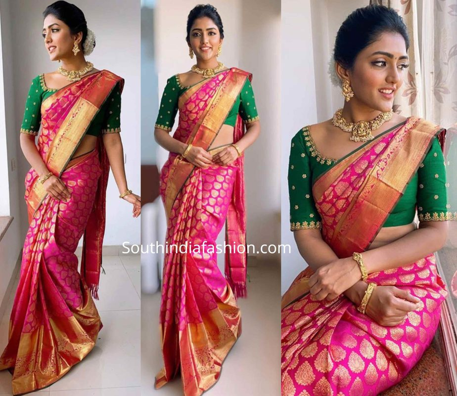eesha rebba in pink pattu saree