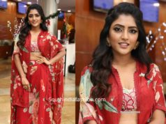eesha rebba in red printed dress at an exhibition (1)