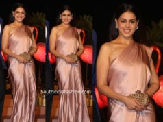 genelia in a peach satin saree at gyaan project gala