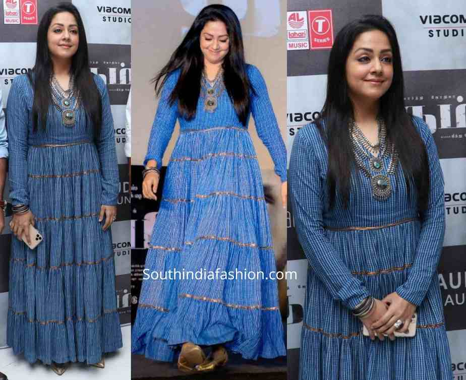 jyothika in blue anarkali at thambi audio launch
