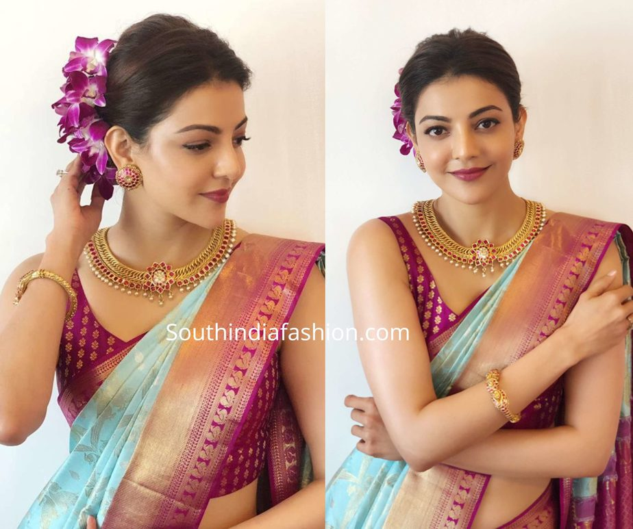 kajal aggarwal in blue silk saree at vidhatri shopping mall launch (2)