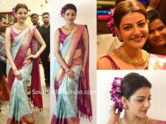 kajal aggarwal in blue silk saree at vidhatri shopping mall launch