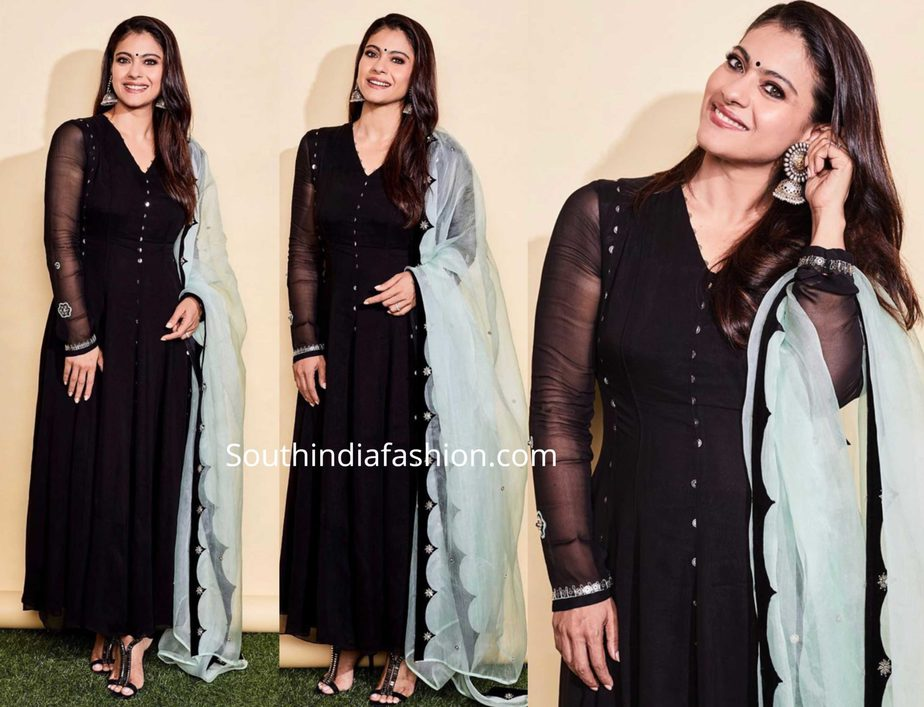 kajol in black anarkali with blue dupatta