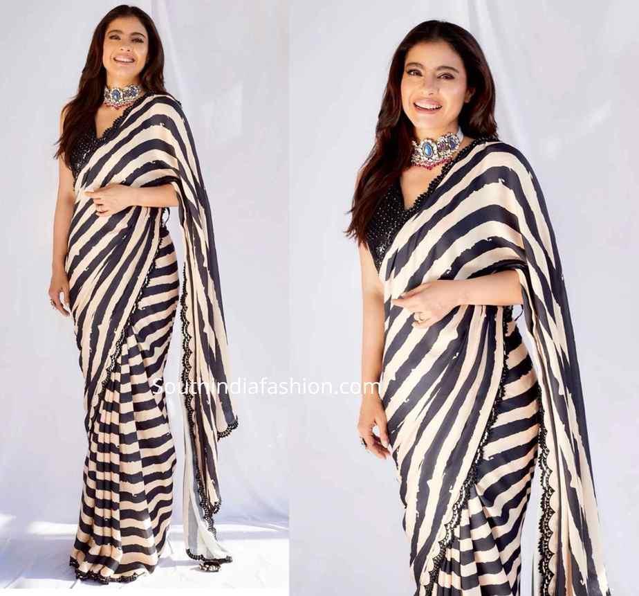 kajol in black and white striped saree at tanhaji promotions (2)