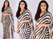 kajol in black and white striped saree at tanhaji promotions