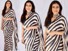 kajol in black and white striped saree at tanhaji promotions