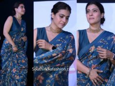 kajol in blue saree at tanhaji promotions