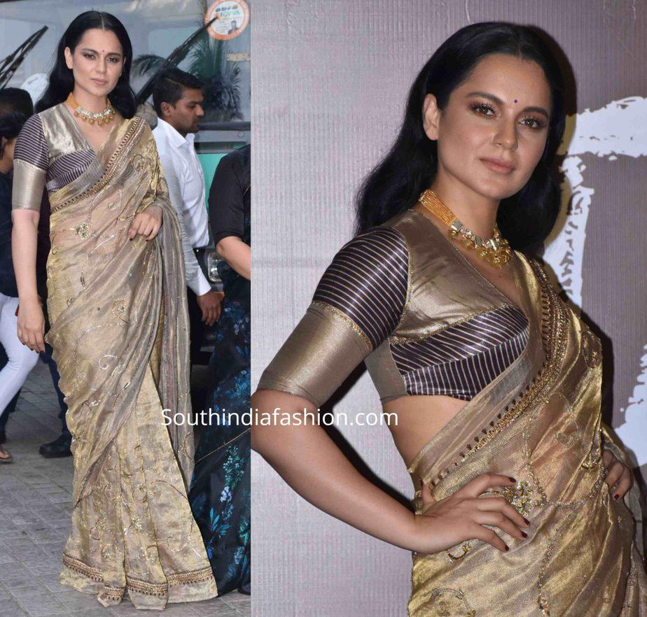 kangana ranaut in gold saree at panga trailer launch (1)
