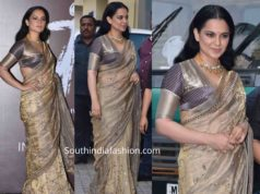 kangana ranaut in gold saree at panga trailer launch (1)