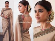 keerthy suresh in sabyasachi saree at national awards 2019