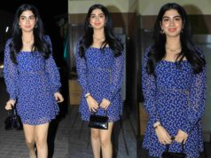 khushi kapoor in blue mini dress