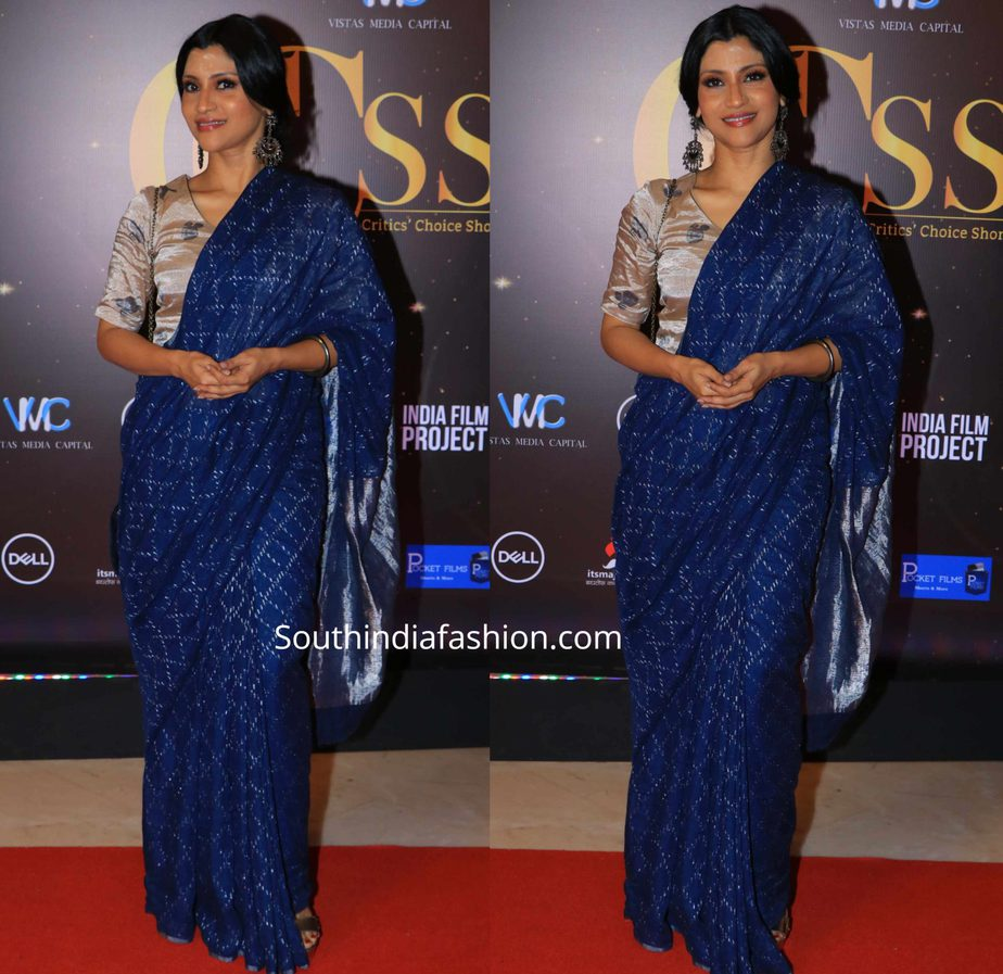 konkona sen sharma in blue anavila saree at critics choice shorts and series awards
