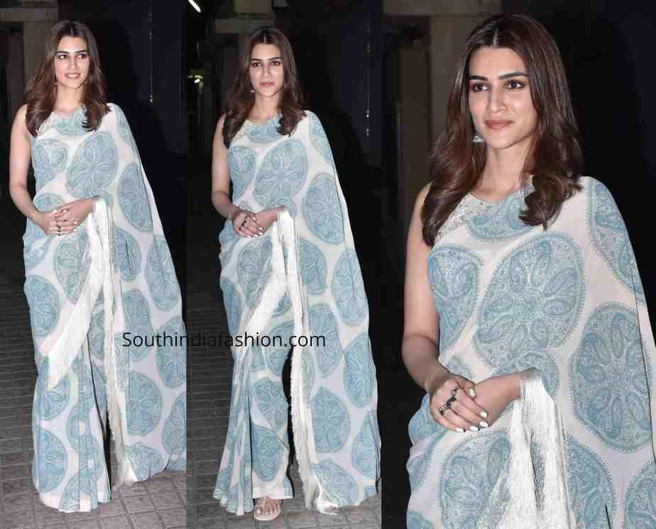 kriti sanon in light blue printed saree at panipat screening
