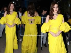 kriti sanon yellow saree panipat promotions kapil sharma show