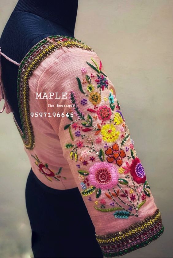maggam work blouse for bridal silk sarees (4)