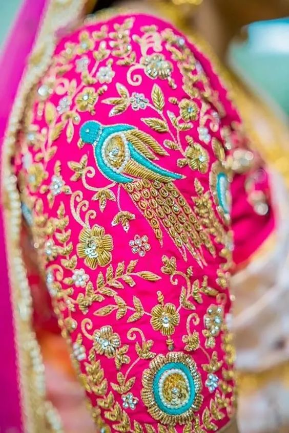 maggam work blouse for bridal silk sarees (2)