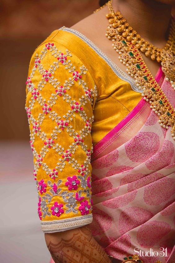 maggam work for bridal silk sarees (4)