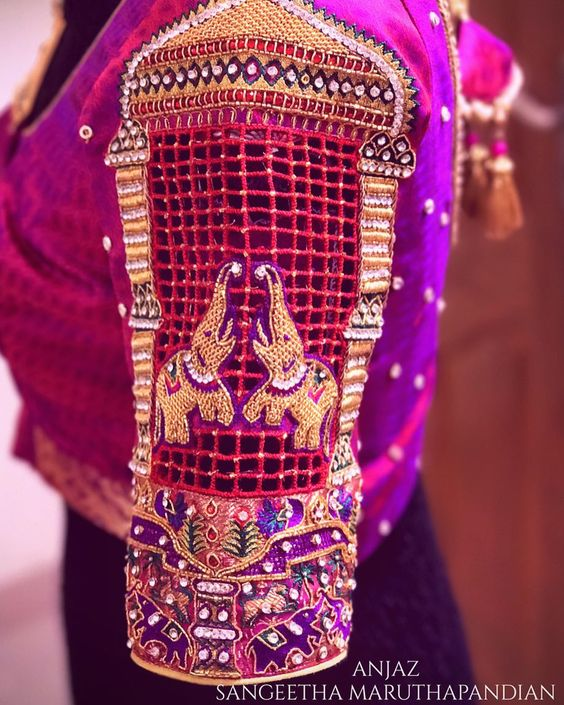 maggam work silk saree blouse designs 2020 (8)