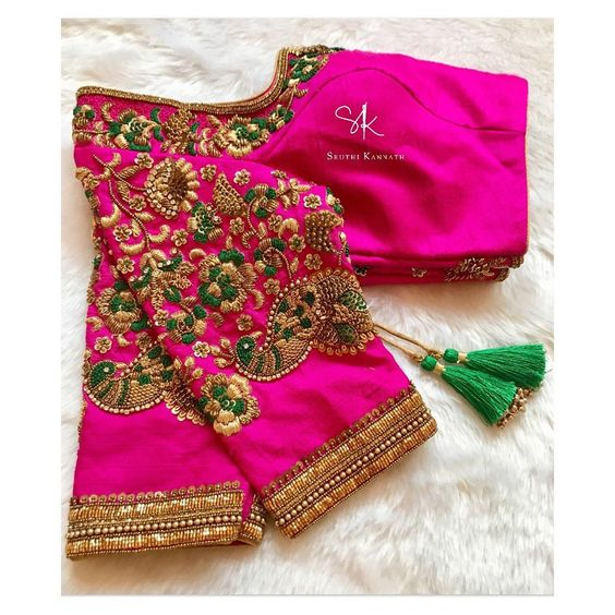 maggam work silk saree blouse designs 2020 (7)