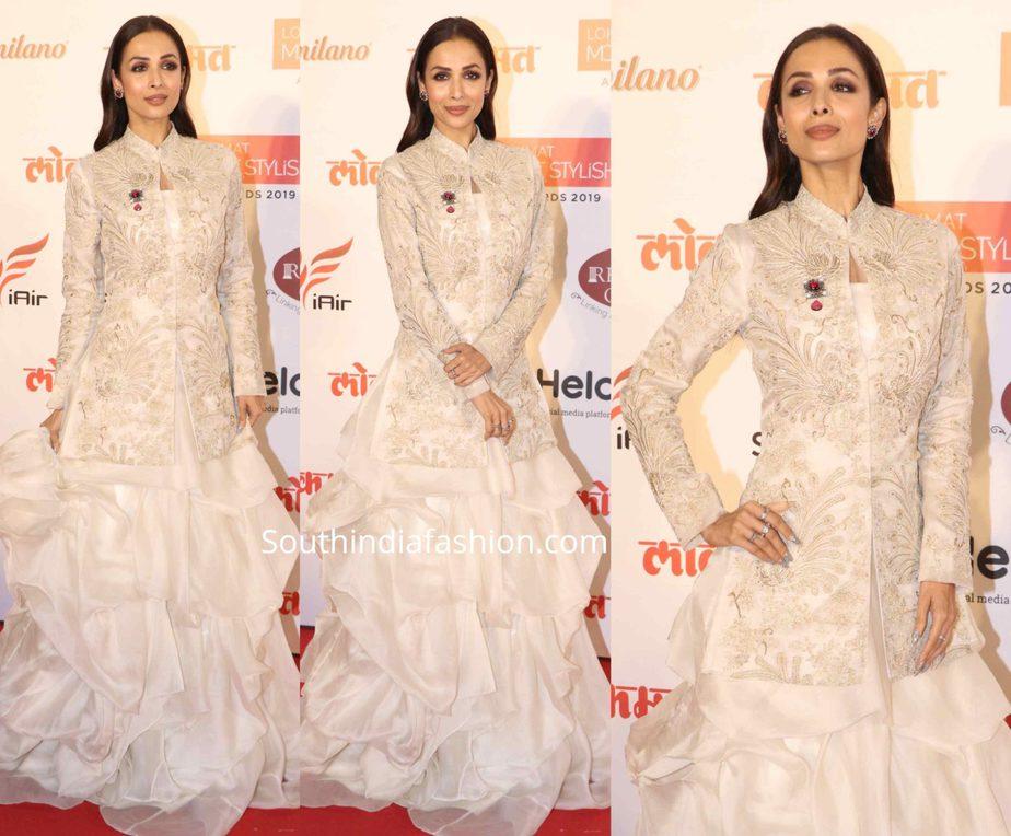 malaika arora white dress at lokmat awards