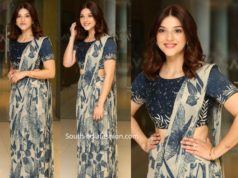 mehreen kaur in printed pre stitched saree at entha manchivadavura press meet