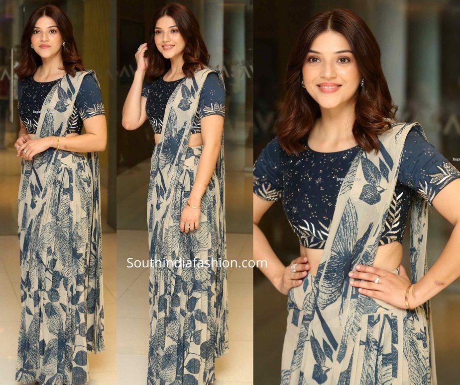 mehreen kaur in printed pre stitched saree at entha manchivadavura press meet