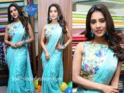 nabha natesh in blue linen saree (1)