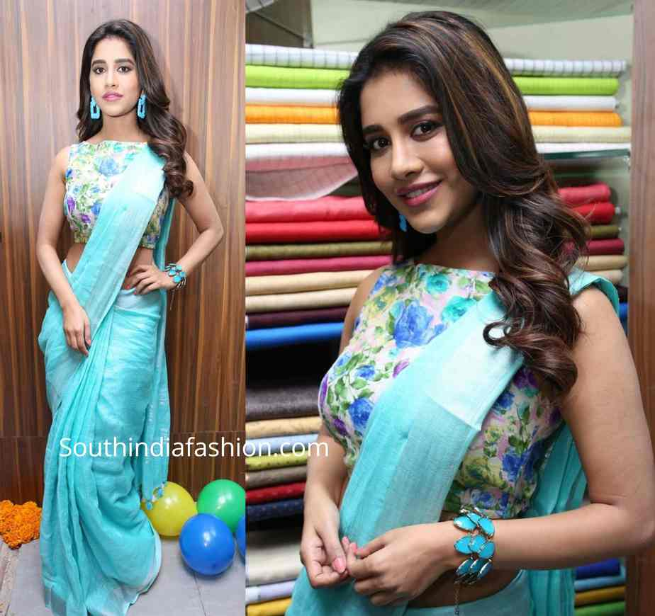 nabha natesh in blue linen saree