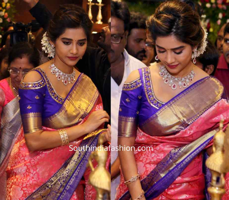 nabha natesh cold shoulder pattu blouse