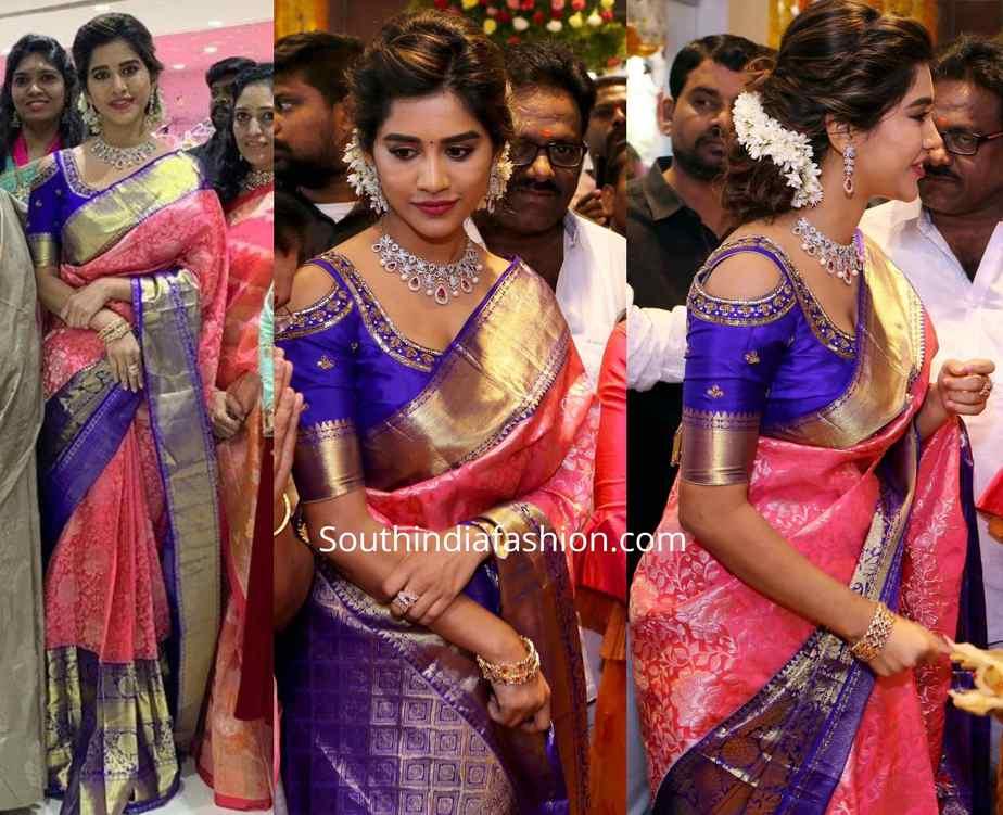 nabha natesh pink pattu saree at chandana brothers shopping mall launch jangareddygudem (1)