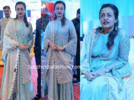 namrata shirodkar in blue anarkali by jayanti reddy at syed javed ali wedding reception
