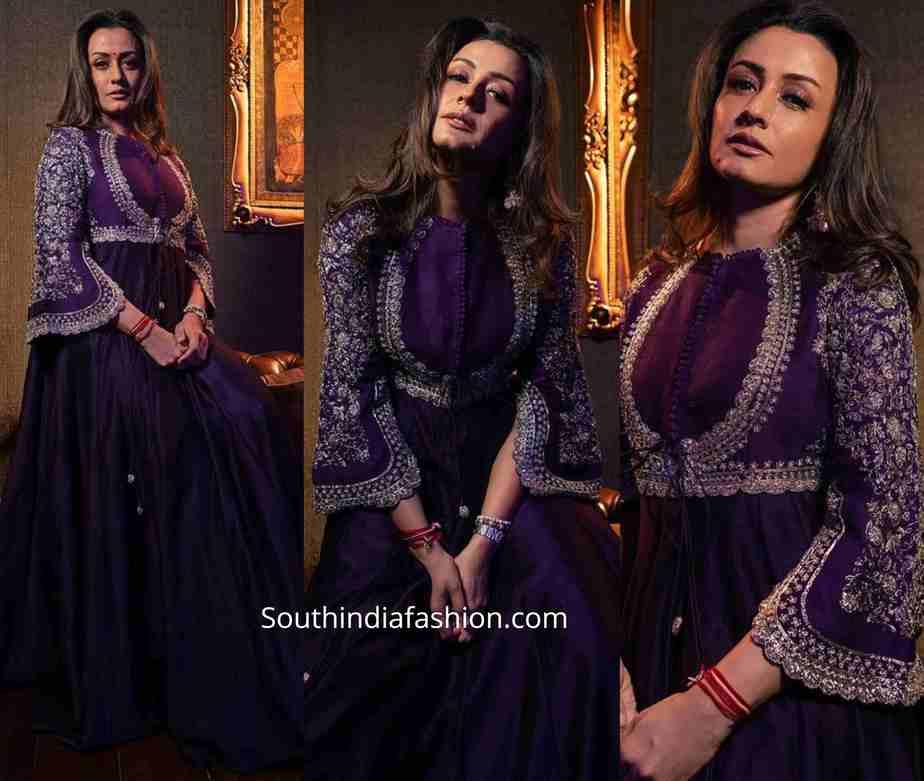 namrata shirodkar purple anarkali by jayanti reddy (1)