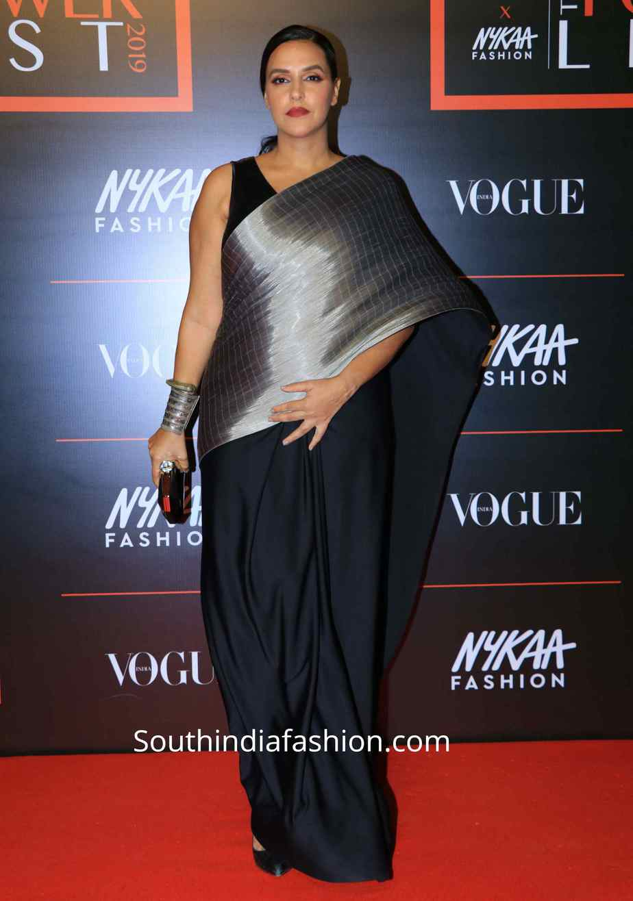 neha dhupia in metallic saree at vogue power list 2019 (2)