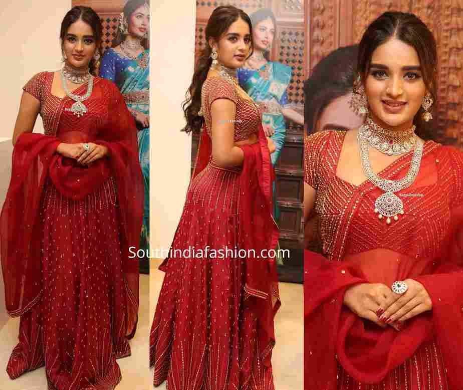 nidhhi agerwal in red lehenga at sri krishna silks launch (1)