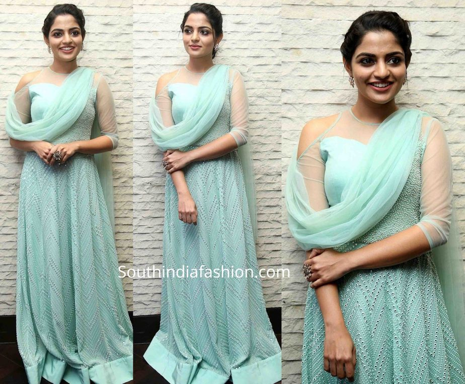 nikhila vimal in blue gown at donga pre release function