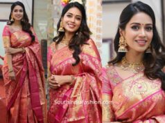nivetha pethuraj in kanjeevaram saree at chandana brothers exhibition