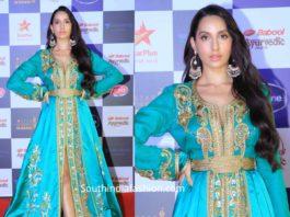 nora fatehi green dress at star screen awards 2019