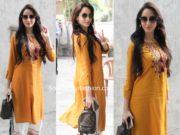 nora fatehi in yellow kurta and white palazzos