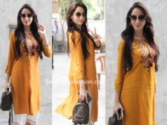nora fatehi in yellow kurta and white palazzos