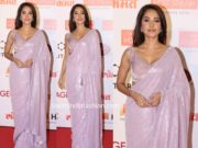 nushrat barucha in manish malhotra sequin saree at lokmat awards