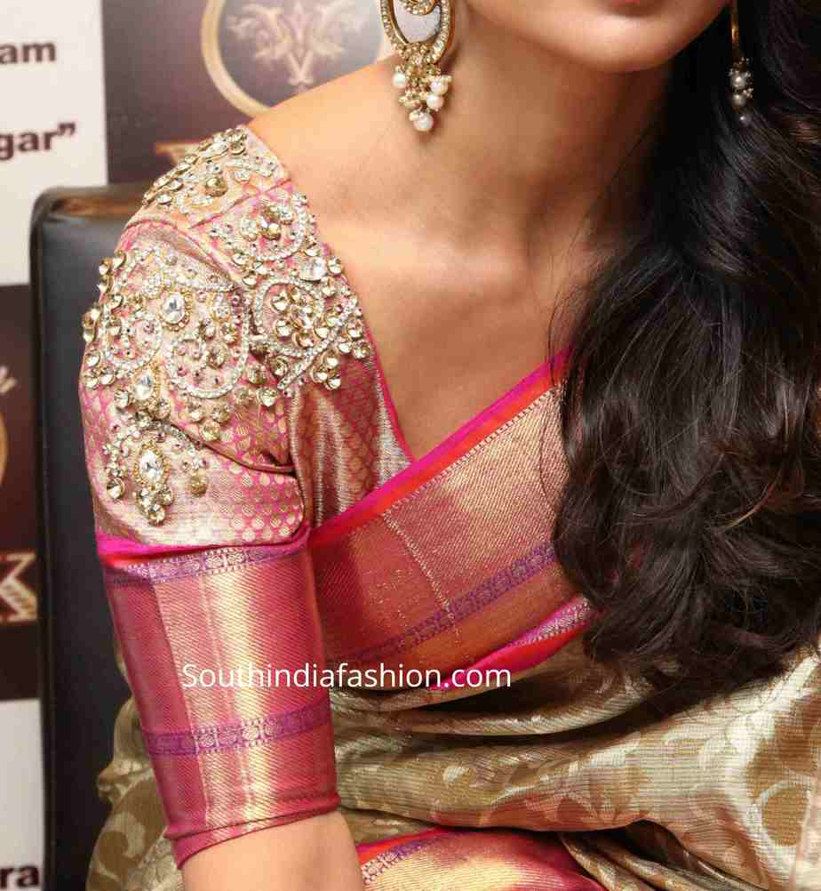 latest maggam embroidered silk saree blouse designs 2020