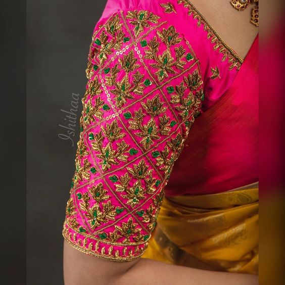 pattu saree blouse designs with maggam work 2020 (2)
