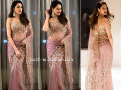 pragya jaiswal in floral embroidered organza saree (1)