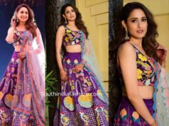 pragya jaiswal in purple lehenga at her cousin sangeet