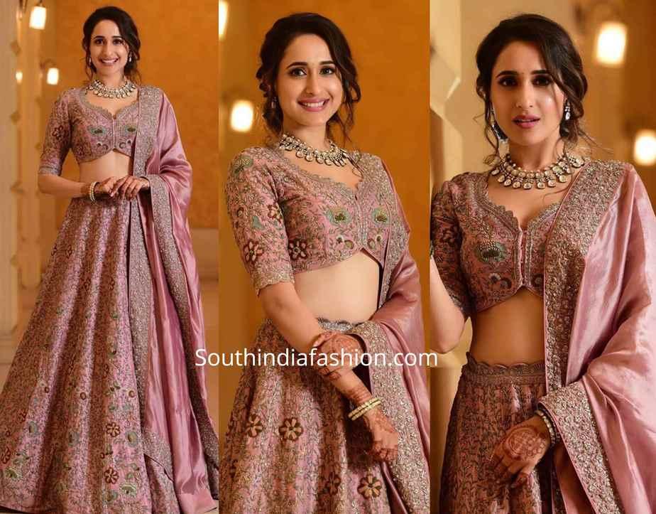pragya jaiswal lehenga at her sister wedding reception