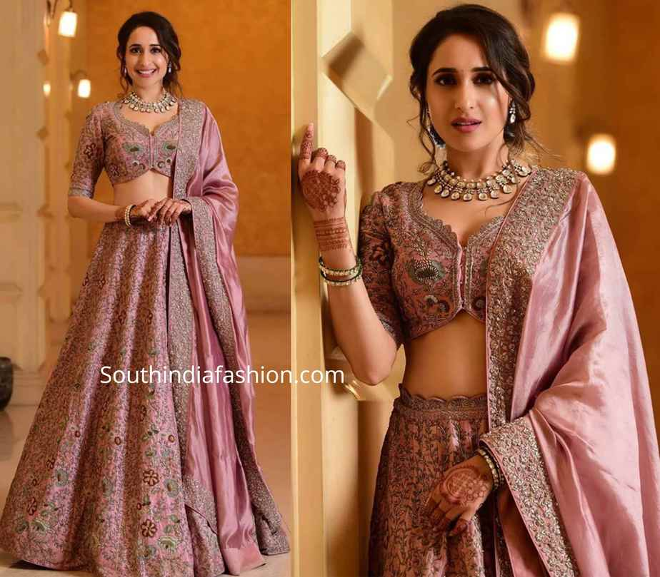 pragya jaiswal lehenga at her sister wedding reception